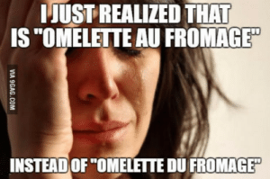 """Lie, Omelette Du Fromage, and Fromage: IJUST REALIZED THAT  IS""""OMELETTE AU FROMAGE""""  INSTEAD OF """"OMELETTE DU FROMAGE"""" Ive lived in a lie :("""