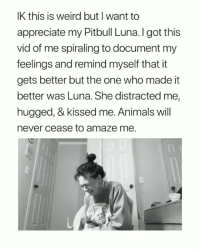Animals, Weird, and Pitbull: IK this is weird but I want to  appreciate my Pitbull Luna.I got this  vid of me spiraling to document my  feelings and remind myself that it  gets better but the one who made it  better was Luna. She distracted me,  hugged, & kissed me. Animals will  never cease to amaze me