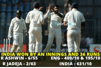 Memes, Cricket, and Indian: Iki  INDIA WON BY AN INNINGS AND 36 RUNS  RASHWIN 6/55  ENG 400/10 & 195/10  R JADEJA 2/63  INDIA 631/10 Indian Cricket Team beat England by an Innings and 36 runs to lead the series 3-0