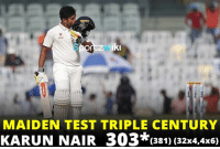 Maiden test triple century for Karun Nair What an amazing knock !!  Can we get 300,000 likes in 300 Minutes ?: Iki  MAIDEN TEST TRIPLE CENTURY  KARUN NAIR 303*(381) (32x4,4x6) Maiden test triple century for Karun Nair What an amazing knock !!  Can we get 300,000 likes in 300 Minutes ?