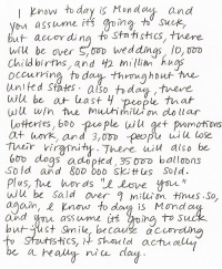 """Boo, Dogs, and Love: IKnow to day is Monday and  or assume its gpima to Suck  but accor dina to Stutstics, tvere  WU be over Sm weddings,lo, ooo  Childbirtns, and 2 miln hugs  2  United States, also  dag,tnere  otortes, boo  at work, and 3,ODD peopu wiu lose  ple il get pomotons  be  9  bob dogs adoped 3SODD balloons  So ld and 8o0 OD SKittes Sold.  Plus, the hords"""" """"Love yn, t  wilu be sald over milui on  agam, e Know to da is Mmd  2  ies.So  and  butgust Smile, because acurdn  assume its oino  2  tstics, it Should actuo  be ah disagreed:   this is the greatest thing ever written.  omg this is so relevant"""