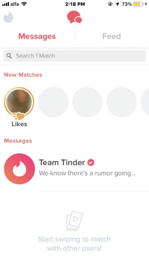 Tinder, Match, and Search: il alfa  2:18 PM  @ 1 73%  Feed  Messages  Q Search 1 Match  New Matches  Likes  Messages  Team Tinder  We know there's a rumor going...  Start swiping to match  with other users! I swiped right on everyone have no matches left it's been 3 days.Am I doing this right?