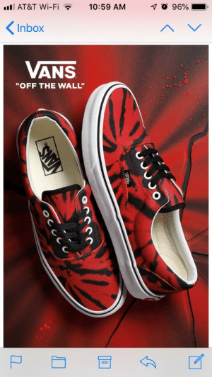"""Vans, At&t, and Inbox: il AT&T Wi-Fi  10:59 AM  96%-  ,  Inbox  ANS  """"OFF THE WALL"""" Can we copy right strike vans?"""