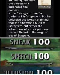 Meirl: IL. instagram suea  the person who  purchased the  domain  slutsofinstagram.com for  trademark infringement, but he  defended the lawsuit claiming  that the site wasn't Sluts of  Instagram, but rather the  adventures of a duck princess  named Slutsof in the magical  city of Stagram  slutsofinstag  SNEAK 100  SPEEGH 100 Meirl