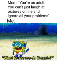 "me😂irl: Il  Mom: ""You're an adult.  You can't just laugh at  pictures online and  ignore all your problemS  Me  Il me😂irl"
