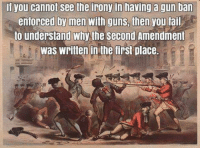 Gun Ban: il you cannot see the irony in having a gun ban  entorced by men with guns, then you tail  to understand why the second Amendment  was written in the tirst place.