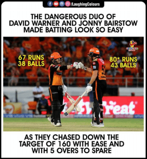 #DavidWarner #JonnyBairstow #SRHvKKR #IPL: @iLaughingColours  THE DANGEROUS DUO OF  DAVID WARNER AND JONNY BAIRSTOW  MADE BATTING LOOK SO EASY  67 RUNS  38 BALLS  802 RUNS  43 BALLS  匋  AS THEY CHASED DOWN THE  TARGET OF 160 WITH EASE AND  WITH 5 OVERS TO SPARE #DavidWarner #JonnyBairstow #SRHvKKR #IPL