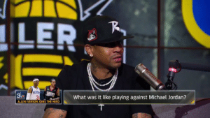 "Allen Iverson, Memes, and Michael Jordan: ILER  What was it like playing against Michael Jordan?  ALLEN IVERSON JOINS THE HERD ""If it wasn't for Michael Jordan, there wouldn't be no Allen Iverson."" —@alleniverson  (Via @TheHerd)    https://t.co/GuVeWyzzRh"