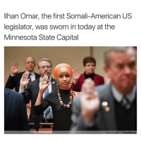 Législatives: Ilhan Omar, the first Somali-American US  legislator, was sworn in today at the  Minnesota State Capital  GLEN STUBBE A Star Tribune