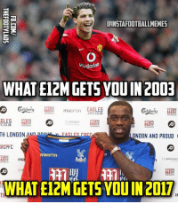 Philadelphia Eagles, Football, and Memes: ILINSTAFOOTBALLMEMES  Vodafo  WHAT E12M GETSYOUIN 2003  EAGLES  macri n  CPFC, CO UK  MANNON  MANNON  GLES  C.CO.UK  MANNEN  UK  MANION  TH LONDON AN  angk  LONDON AND PROUD  a CPFC  macron  global reach  WHAT E12M GETS YOU IN 2017.  FC The Difference.. 😳 🔺FREE FOOTBALL EMOJIS APP -> LINK IN BIO!!!
