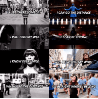 ILL BE THERE SOMEDAY  I CAN GO THE DISTANCE  I WILL FIND MY WAY  IFICAN BE STRONG  THEMONCHELE  I KNOW EVERY MILE  WILL BE WORTH MY WHILE  WHEN IGO THE DISTANCE  ILL BE RIGHT WHERE I BELONG — rachel berry x go the distance 1. i am so proud of my baby for following her dreams and making it to her city. i will forever idolize this girl. 2. if you don't love disney, who are you? 3. new york city is forever and always where my heart is. no, not just in times square, or central park. every inch of that city is tattooed on my heart. the end. — glee disney rachelberry