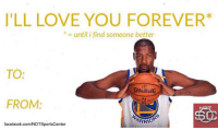 Happy Valentine's Day from Kevin Durant! https://t.co/kGlfOplqNr: I'LL LOVE YOU FOREVER*  * = until i find someone better  TO:  SPALDING  FROM:  ARRİ。  facebook.com/NOTSportsCenter Happy Valentine's Day from Kevin Durant! https://t.co/kGlfOplqNr