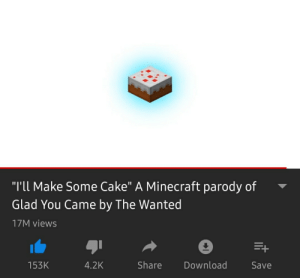 """Thought I'd shed some light to this on my cake day!: """"I'll Make Some Cake"""" A Minecraft parody of  Glad You Came by The Wanted  17M views  4.2K  Share  Download  Save  153K Thought I'd shed some light to this on my cake day!"""