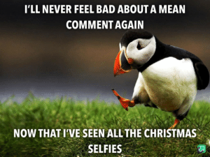 Merry Christmas Imgur!!: I'LL NEVER FEEL BAD ABOUT A MEAN  COMMENT AGAIN  NOW THAT I'VE SEEN ALL THE CHRISTMAS  SELFIES Merry Christmas Imgur!!