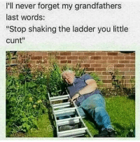 "Memes, Cunt, and Moist: I'll never forget my grandfathers  last words:  ""Stop shaking the ladder you little  Cunt'' Follow @tindervsreality for moist memes 💦"
