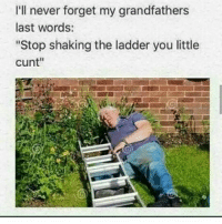 "Dank Memes, Rip, and The Ladders: I'll never forget my grandfathers  last words:  ""Stop shaking the ladder you little  cunt"" It's hard to really tell of meme pages are ever telling the truth but if whatc happened really happened then RIP nova man I really thought you were a cool guy and I thought the whole depression thing was just a joke you did...but i,guess not"