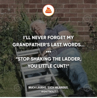 "Memes, Cunt, and Hilarious: ILL NEVER FORGET MY  GRANDFATHER'S LAST WORDS.  ""STOP SHAKING THE LADDER,  YOU LITTLE CUNT!""  MUCH LAUGHS. SUCH HILARIOUS.  @SHITBOLT"
