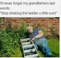 Cunt, Last Words, and Never: Ill never forget my grandfathers last  words:  Stop shaking the ladder u little cunt""