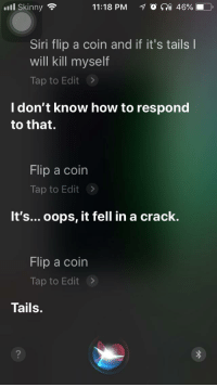 Me💰irl: ill Skinny  11:18 PM  O a 46%. D)  Siri flip a coin and if it's tails l  will kill myself  Tap to Edit>  I don't know how to respond  to that.  Flip a coin  Tap to Edit >  It's... oops, it fell in a crack.  Flip a coin  Tap to Edit>  Tails. Me💰irl