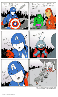 Dank, 🤖, and Iron: I'll take the  perimeter  Ann  Ma  us  LUNCH!  Source: lunarbaboon  Iron Man you protect  the sky  Hulk. SMASH  stuff  Yeah Cap  wwwlunarbaboon com
