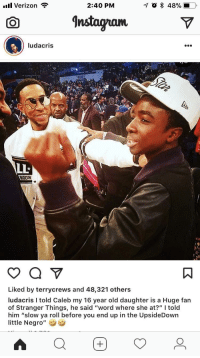 """<p>Luda bout to send his ass to look for Barb (via /r/BlackPeopleTwitter)</p>: ill Verizon  2:40 PM  O nstagramV  ludacris  1T2  LLt  Liked by terrycrews and 48,321 others  ludacris I told Caleb my 16 year old daughter is a Huge fan  of Stranger Things, he said """"word where she at?"""" told  him """"slow ya roll before you end up in the UpsideDown  little Negro"""" <p>Luda bout to send his ass to look for Barb (via /r/BlackPeopleTwitter)</p>"""