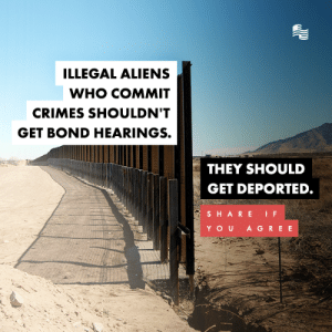 Aliens, Conservative, and Simple: ILLEGAL ALIENS  WHO COMMIT  CRIMES SHOULDN'T  GET BOND HEARINGS.  THEY SHOULD  GET DEPORTED.  SHARE IF  YOU A GREE It's that simple.
