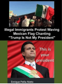 """~TCC: Illegal Immigrants Protest Waving  Mexican Flag Chanting  """"Trump is Not My President""""  This is  your  president  Enrique Pena Nieto ~TCC"""