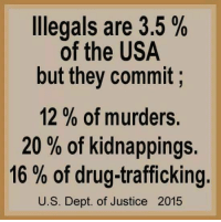 Memes, Justice, and Drug: Illegals are 3.5%  of the USA  but they commit  12 of murders.  20% of kidnappings.  16% of drug trafficking.  U.S. Dept. of Justice 2015 Visit our Store 👉🏽 https://goo.gl/zS6WxN Use code CDHLIFE10 for 10% off Support 2nd Amendment Advocacy Use code CDHLIFE10 for 10% off SHARE & FOLLOW US
