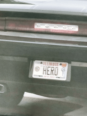 Driving, Sorry, and Illinois: ILLINOIS  G  HERO Sorry about the blurry pic, but I was driving behind this douche canoe today. And yes it was a Challenger!