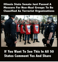 Ali, Illinois, and Yes: Illinois State Senate Just Passed A  Messure For Neo-Nazi Groups To Be  Classified As Terrorist Organizations  E5D  If You Want To See This In AlI 50  States Comment Yes And Share Neo-Nazi groups should all be classified as terrorist groups.  Share if you agree.