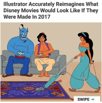Disney, Memes, and Movies: Illustrator Accurately Reimagines What  Disney Movies Would Look Like If They  Were Made In 2017  SWIPE → 😂 (@tomwardstudio)  Follow @aranjevi for more!