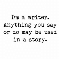 May, Ilm, and You: Ilm a writer.  Anything you say  or do may be used  in a story.