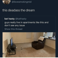 Funny, Ps4, and Fuck: @ilovesmokingmid  this deadass the dream  kat hasty @kathasty  guys really live in apartments like this and  don't see any issue  Show this thread All I need is my pc and PS4 setup fuck furniture