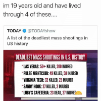 hey everyone stay safe i love u: im 19 years old and have lived  through 4 of these....  TODAY@TODAYshow  A list of the deadliest mass shootings in  US history  DEADLIEST MASS SHOOTINGS IN U.S. HISTORY  LAS VEGAS: 50+KILLED, 200 INJURED  PULSE NIGHTCLUB: 49 KILLED, 58 INJURED  VIRGINIA TECH: 32 KILLED, 23 INJURED  SANDY HOOK: 27 KILLED, 2 INJURED  LUBY'S CAFETERIA: 23 DEAD, 27 INJUREa hey everyone stay safe i love u