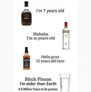 Bitch, Hello, and Earth: I'm 7 years old  Hahaha  I'm 1o years old  Hello guys  12 years old here  Bitch Please  I'm older than Earth  4.6 Billion Years to be precise Bitch please