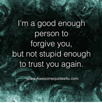 Memes, Good, and 🤖: I'm a good enough  person to  forgive you  but not stupid enough  to trust you again.  www.Awe  wesomequotes4u.com