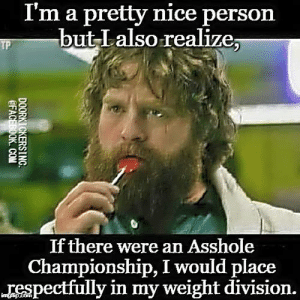 or age division... could you make it to the finals?: I'm a pretty nice person  but Lalso realize;  If there were an Asshole  Championship, I would place  respectfully in my weight division. or age division... could you make it to the finals?