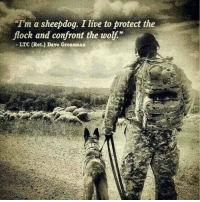"""Memes, Live, and Wolf: Im a sheepdog. I live to protect the  flock and confront the wolf""""  - LTC (Ret.) Dave Grossman  US Not any ordinary sheepdog https://t.co/CbGSG7GWQ8"""