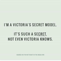 Submitted by Becky Hill: I'M A VICTORIA'S SECRET MODEL.  IT'S SUCH A SECRET,  NOT EVEN VICTORIA KNOWS  SHARED ON PM NOT RIGHT IN THE HEAD.COM Submitted by Becky Hill