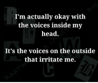 *Sparky*: I'm actually okay with  the voices inside my  head  It's the voices on the outside  that irritate me. *Sparky*