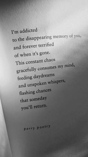 terrified: I'm addicted  to the disappearing memory of you,  and forever terrified  of when it's gone.  This constant chaos  gracefully consumes my mind,  feeding daydreams  and unspoken whispers,  flashing chances  that someday  you'll return.  perry poetry