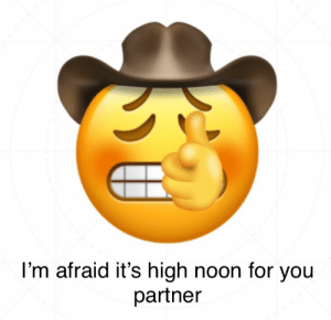 : I'm afraid it's high noon for you  partner