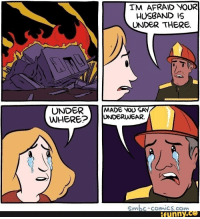 IM AFRAID YOUR  HUSBAND IS  UNDER THERE.  UNDERMADE VOuO SAY  WHEREUNDERWEAR  SmbC-comiCS.com  funny.ce