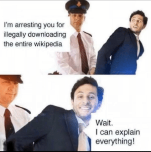 Wait officer.: I'm arresting you for  illegally downloading  the entire wikipedia  Wait.  I can explain  everything! Wait officer.