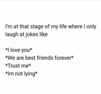 best friends forever: I'm at that stage of my life where l only  laugh at jokes like  *I love you  *We are best friends forever*  *Trust me  *Im not lying*