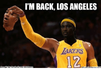 Fac, Los Angeles Lakers, and Los-Angeles-Lakers: I'M BACK, LOS ANGELES  LAKERS  Brought By Fac  ebook  com/NBAMennes  What  DIM Dwightmares in LA? Credit: R.j. Alvez Catolico  http://whatdoumeme.com/meme/chrlci