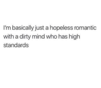 Dirty, Mind, and A Dirty Mind: I'm basically just a hopeless romantic  with a dirty mind who has high  standards