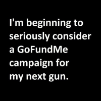 Memes, 🤖, and Gun: I'm beginning to  seriously consider  a GoFundMe  campaign for  my next gun. Anyone wanna give me money for a new gun?