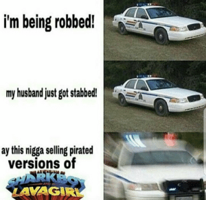 """Dank, Memes, and Reddit: i'm being robbed!  my husband just got stabbed!  ay this nigga selling pirated  versions of  aRKES  LAVAGIR """" we've got a 292"""" by altered_nutsack FOLLOW 4 MORE MEMES."""