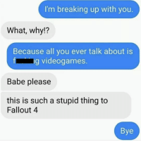 Fallouts: I'm breaking up with you.  What, why?  Because all you ever talk about is  ng videogames  Babe please  this is such a stupid thing to  Fallout 4  Bye
